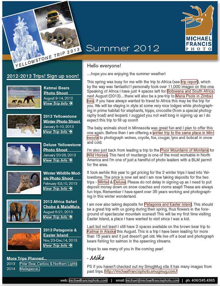 Michael Francis Photo July 2012 Newsletter