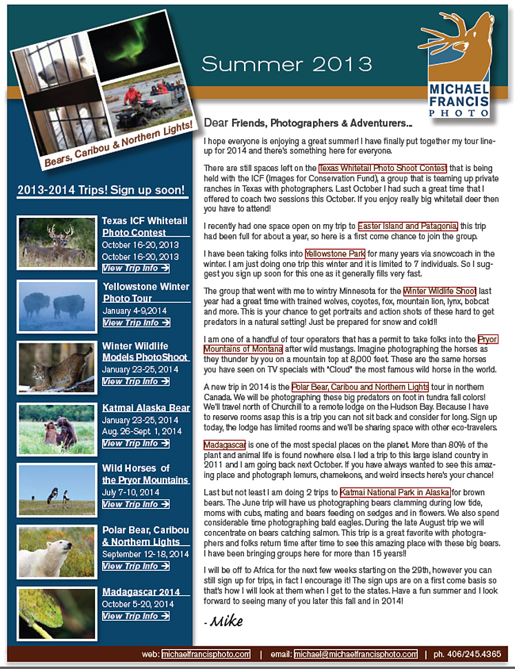 Michael Francis Photo July 2013 Newsletter