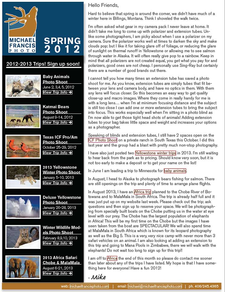 Michael Francis Photo March 2012 Newsletter