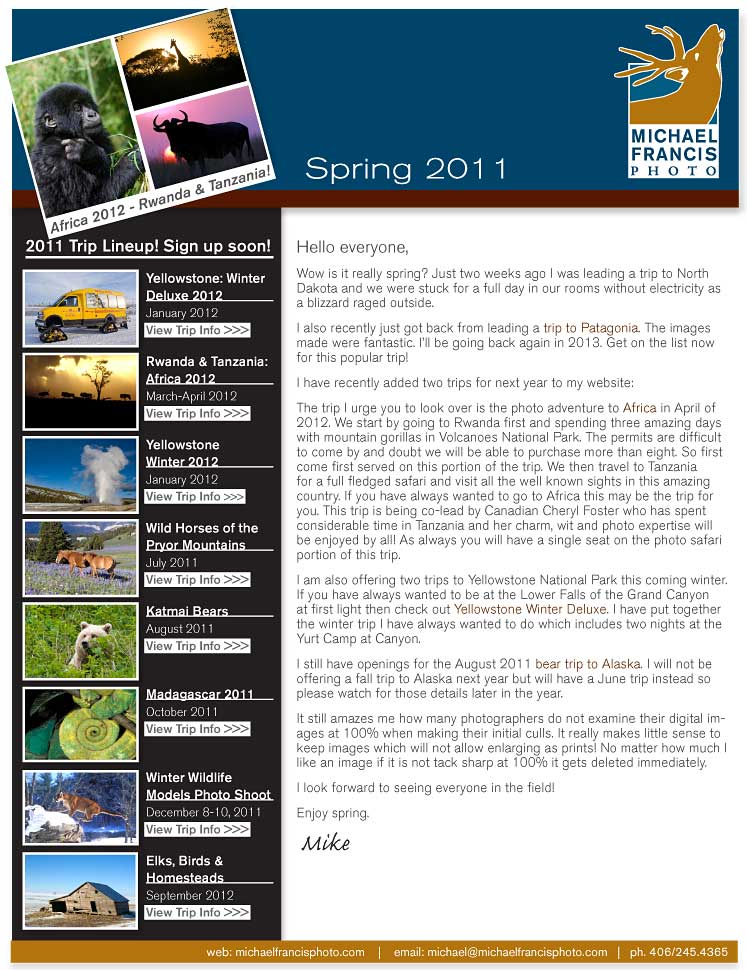 Michael Francis Photo Spring 2011 Newsletter