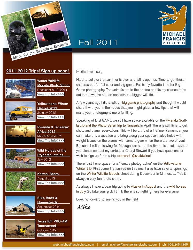 Michael Francis Photo October 2011 Newsletter